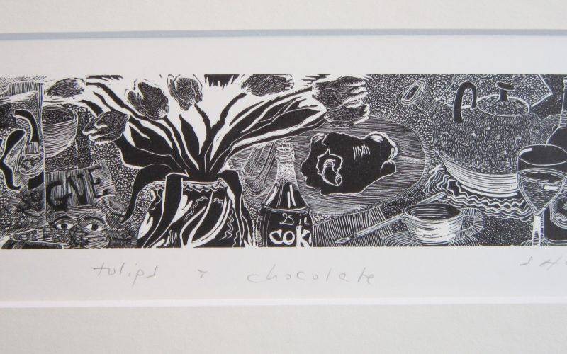 tulips-and-chocolate-by-sally-hands-mounted-print